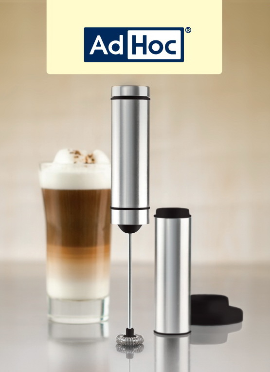 Elegante Edelstahl Stab Milchaufschäumer mit Ständer Batteriebetrieb