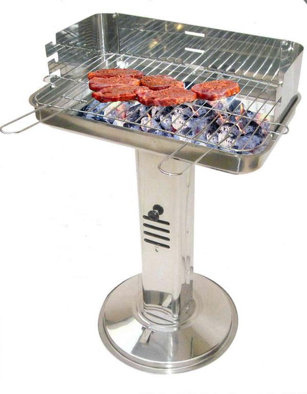 Edelstahl Gartengrill Holzkohlegrill Standgrill Barbecue Grill Standsäulengrill