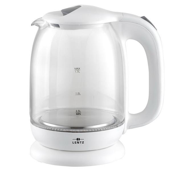 LENTZ Glas-Wasserkocher 1,7 Liter weiß 74124