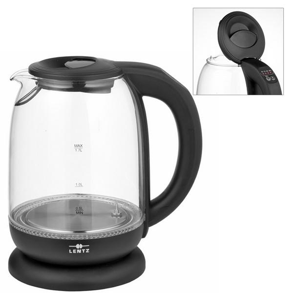LENTZ Glas-Wasserkocher 1,7 Liter mit Temperaturwahl schwarz 74134