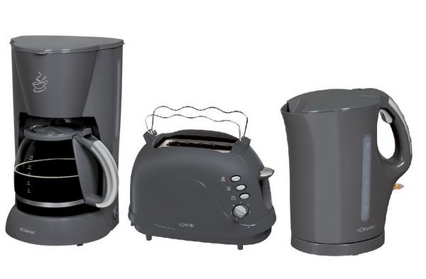 BOMANN Frühstücks-Set Grau (Kaffemaschine+Toaster+Wasserkocher)