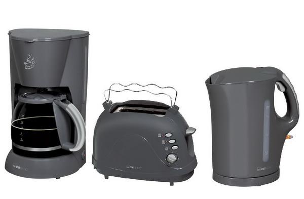 CLATRONIC Frühstücks-Set Grau (Kaffemaschine+Toaster+Wasserkocher)