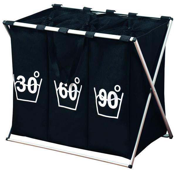 KESPER Wäschesammler TRIO mit 3er Einteilung 19590 schwarz