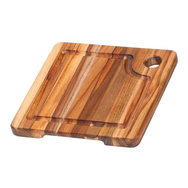 TEAK-HAUS 20 x 20 x 1,9 cm Schneidebtett aus Teak-Holz mit Saftrille TH513