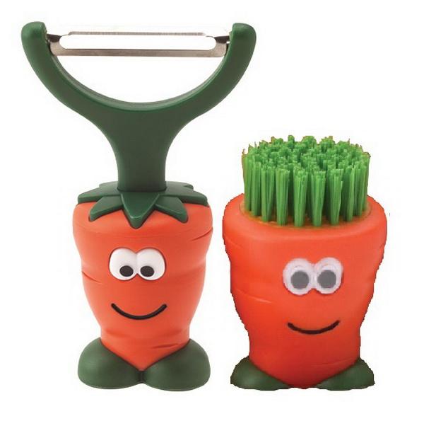 "joie Sparschäler + Gemüsebürste ""Karotte"" 66005+66066"